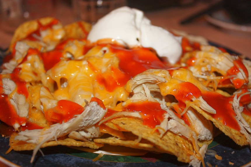 Chicken Nacho's after cheese, taco sauce and sour cream