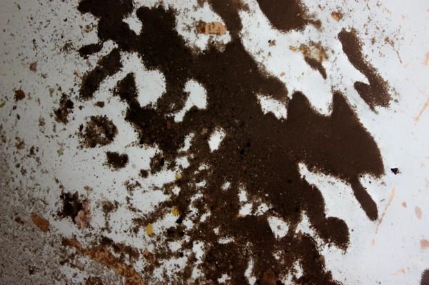 I see a gray broken heart and a gray mushroom among the sludge.